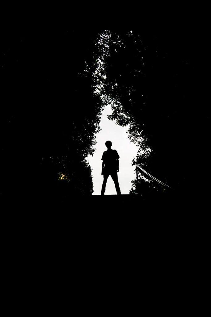 Een silhouet met omkadering van bomen